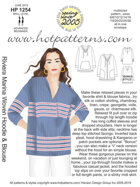 Hot Patterns 1254 - Riviera Marina Woven Hoodie & Blouse