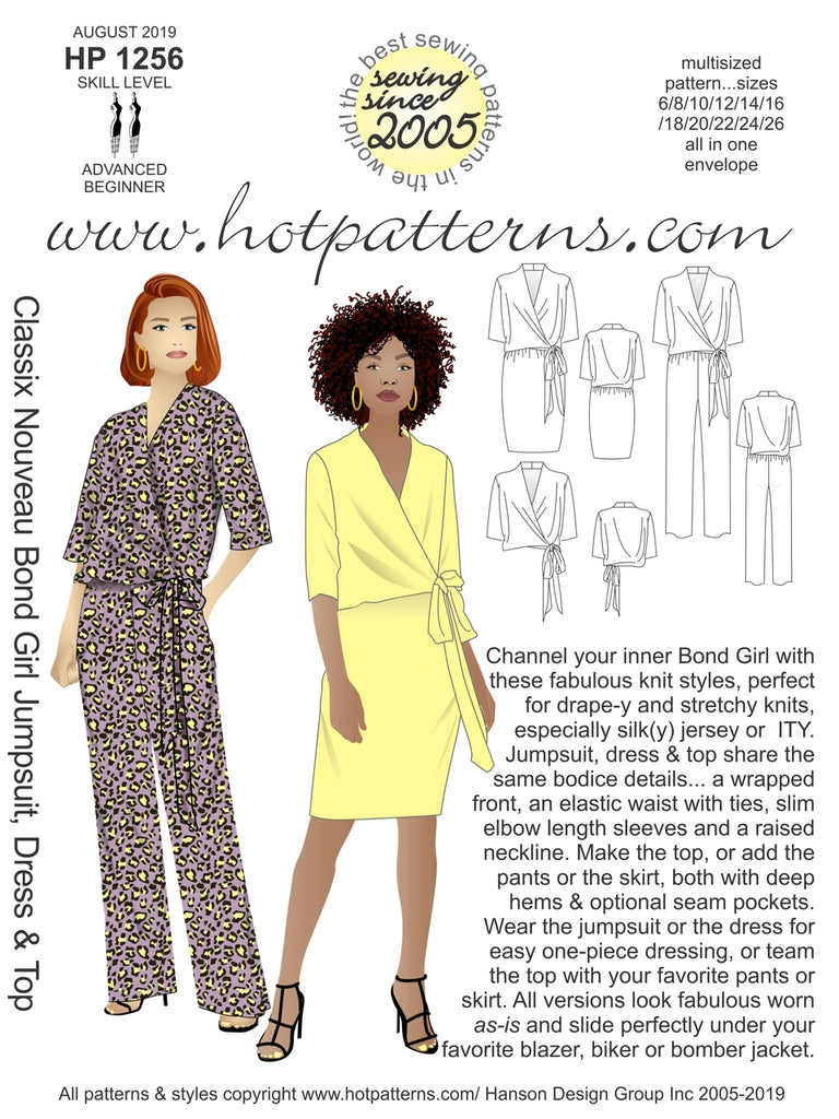 Hot Patterns  1256 - Classix Nouveau Bond Girl Jumpsuit, Dress & Top