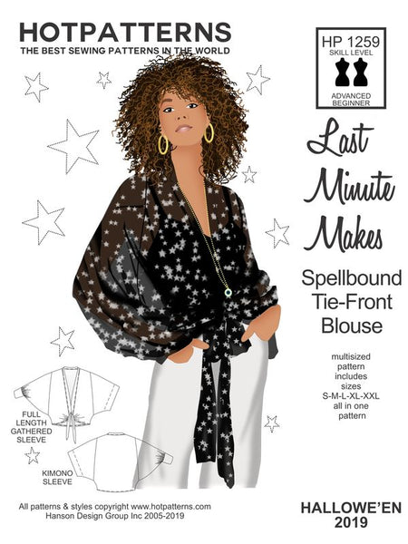 Hot Patterns 1259 DOWNLOAD Last Minute Spellbound Tie-front Blouse
