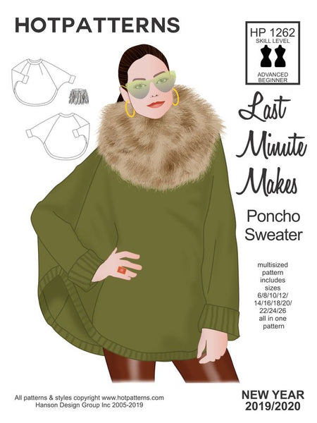 Hot Patterns 1262 DOWNLOAD Last Minute Poncho Sweater