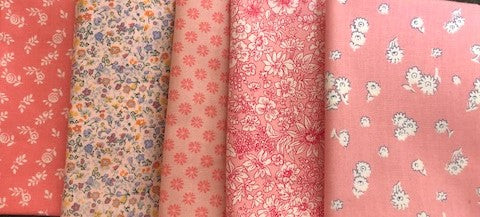 Liberty English Garden Fabric Collection - 5 x Fat Quarter Pack - Pinks
