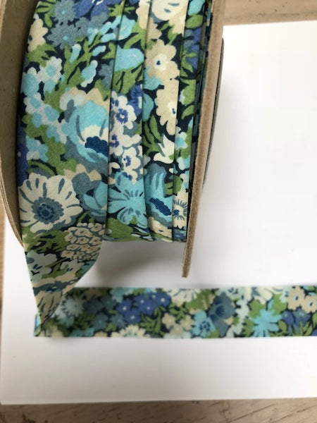 Liberty print Bias Binding - 25mm - by metre - Thorpe Blue