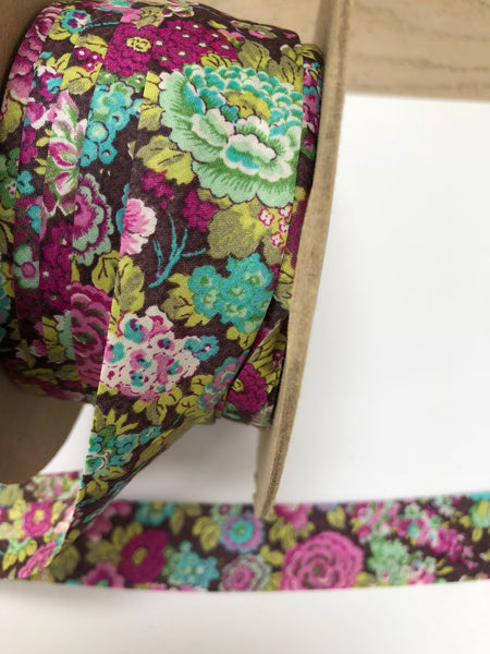 Liberty print Bias Binding - 25mm - by metre - Elysian Purple