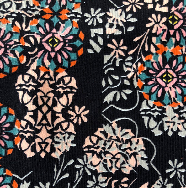 Liberty Rossmore Cord Fabric -  LRC03546254A - Floral Filigree (Black)