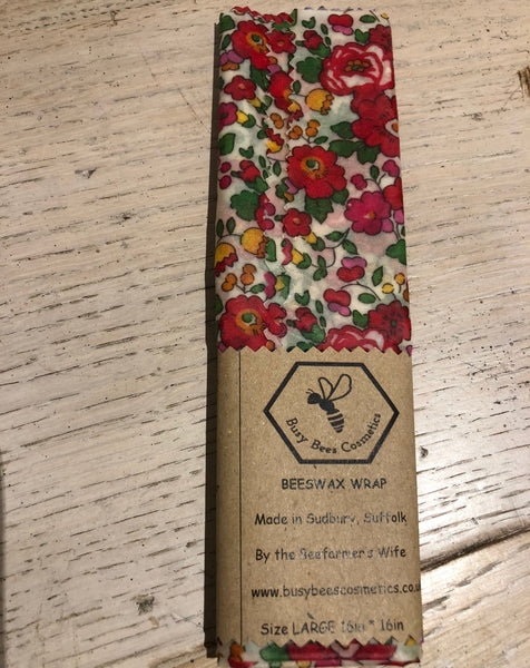 Beeswax food wraps - Liberty Tana Lawn Besty print red 16""