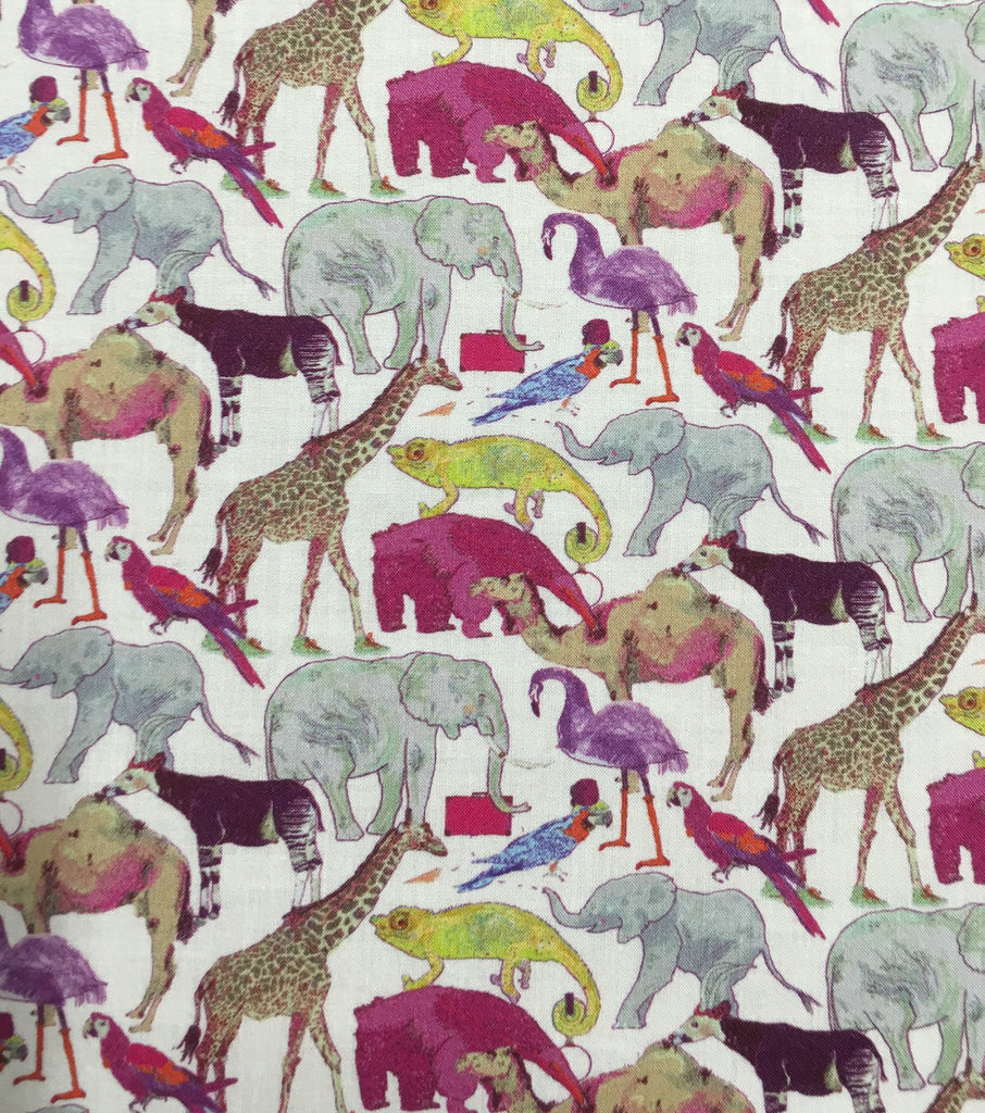 Liberty Tana Lawn - LTL03634160A - Queue for the Zoo (pink purple)