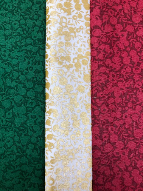 Liberty Cotton Wiltshire Shadow Collection - Xmas  - 3 x Fat Quarter Pack