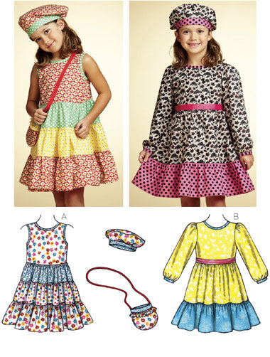 Kwik Sew 3767 - Girls' Dresses, Hat & Bag