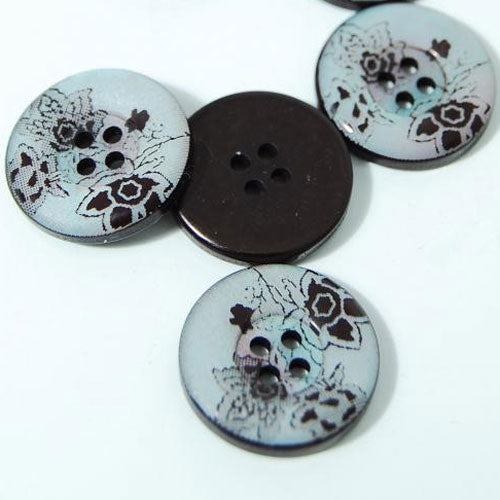 Floral Buttons- set of 5, 18mm