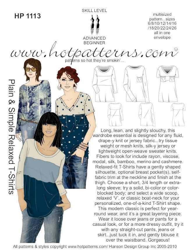 Hot Patterns 1113 - Plain & Simple Relaxed T-Shirts