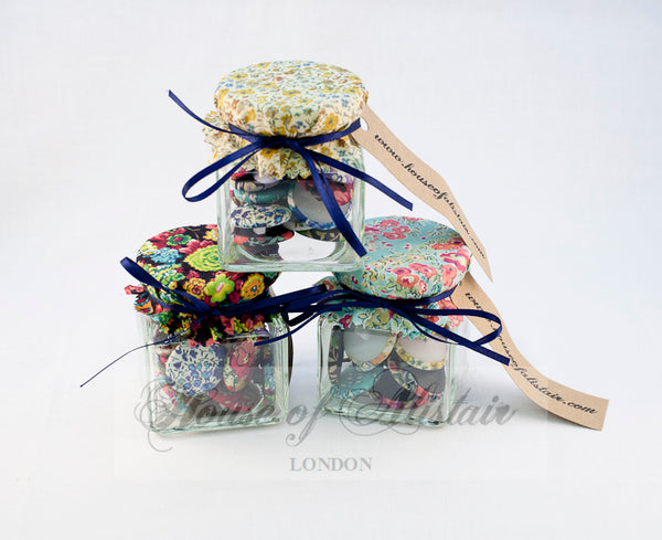 Liberty print covered buttons in Presentation Jar - HOA19