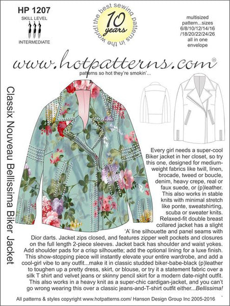 Hot Patterns 1207 - Classix Nouveau Bellisima Biker Jacket