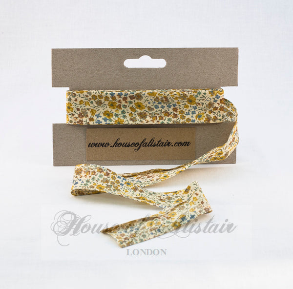 Liberty print Bias Binding - 25mm - by metre - Phoebe Yellow