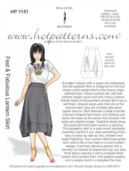 Hot Patterns 1151 - Fast & Fabulous Lantern Skirt