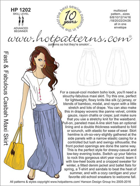 Hot Patterns 1202- Fast & Fabulous Casbah Maxi Skirt