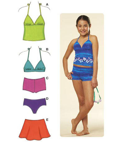 Kwik Sew 3605 - Girls' Mix & Match Swimwear