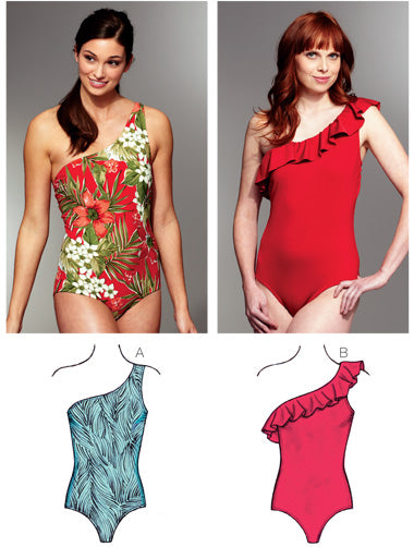 Kwik Sew 3780 - Misses' One Shoulder Swimsuits