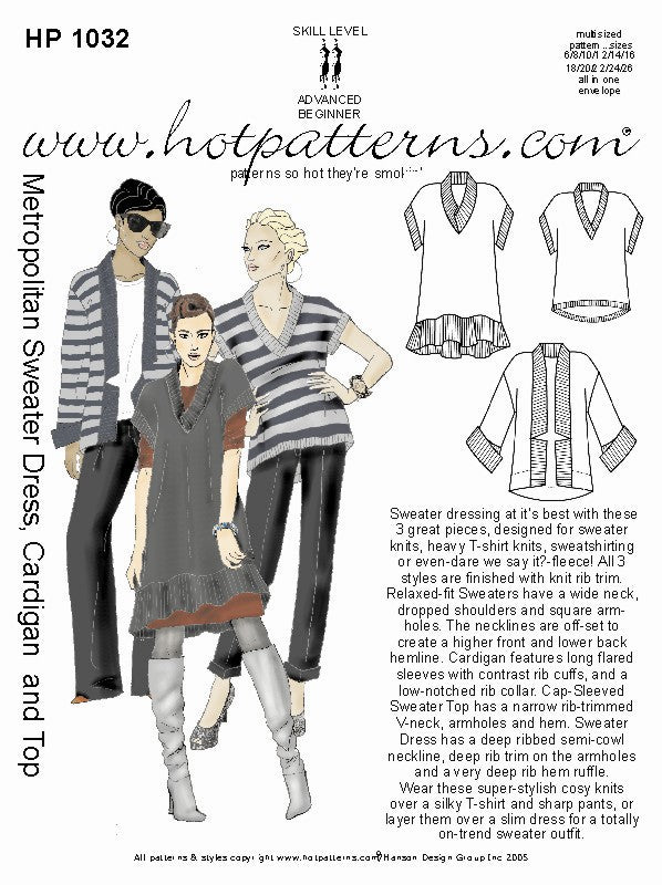 Hot Patterns 1032 - Metropolitan Sweater Dress, Cardigan & Top