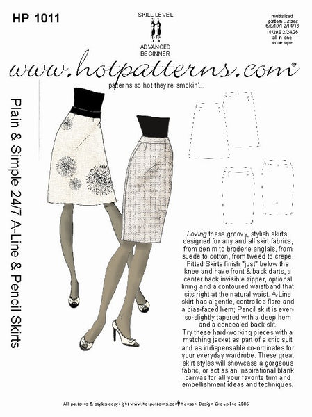 Hot Patterns 1011 - Plain & Simple 24/7 A-Line & Pencil Skirt