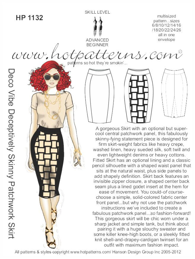 Hot Patterns 1132- Deco Vibe Deceptively Skinny Patchwork Skirt