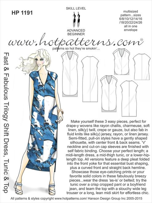 Hot Patterns 1191 - Fast & Fabulous Trilogy Shift Dress, Tunic & Top