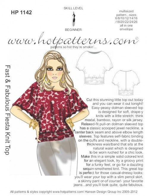 Hot Patterns 1142 - Fast & Fabulous Fiesta Knit Top