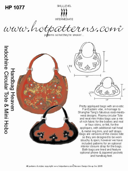 Hot Patterns 1077 - Handbag Heaven Indochrine Circular Tote & Mini Hobo