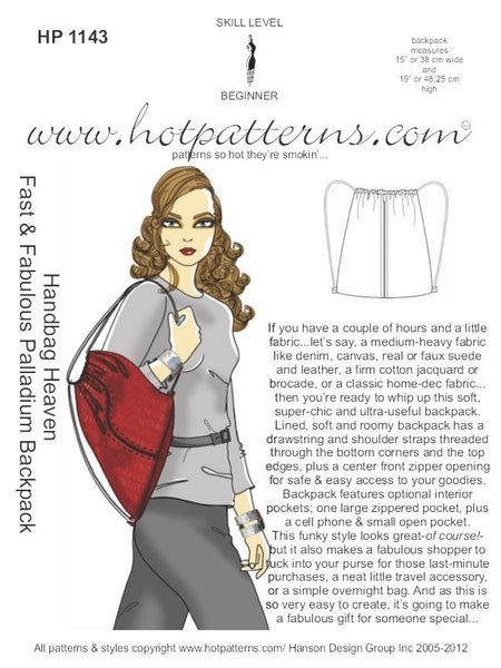 Hot Patterns 1143 - Handbag Heaven Fast & Fabulous Palladium Backpack