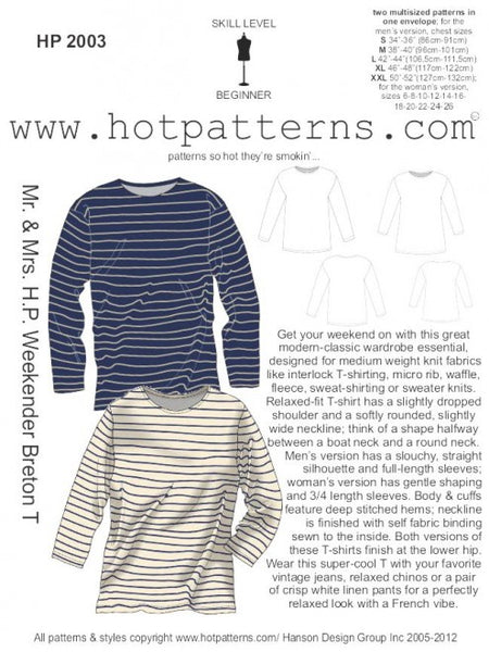 Hot Patterns 2003 - Mr. & Mrs. H.P. Weekender Breton T