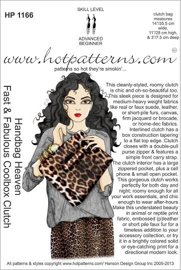 Hot Patterns 1166 - Handbag Heaven Fast & Fabulous Coolbox Clutch