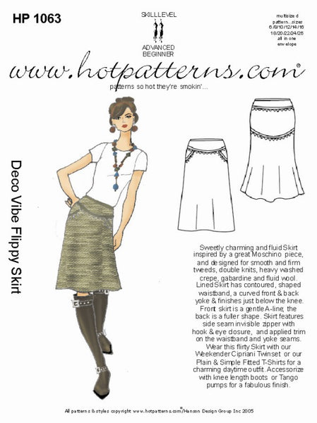 Hot Patterns 1063 - Deco Vibe Flippy Skirt
