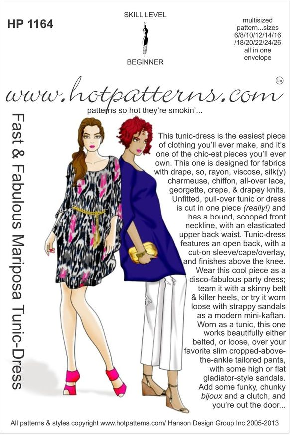 Hot Patterns 1164 - Fast & Fabulous Mariposa Tunic-Dress