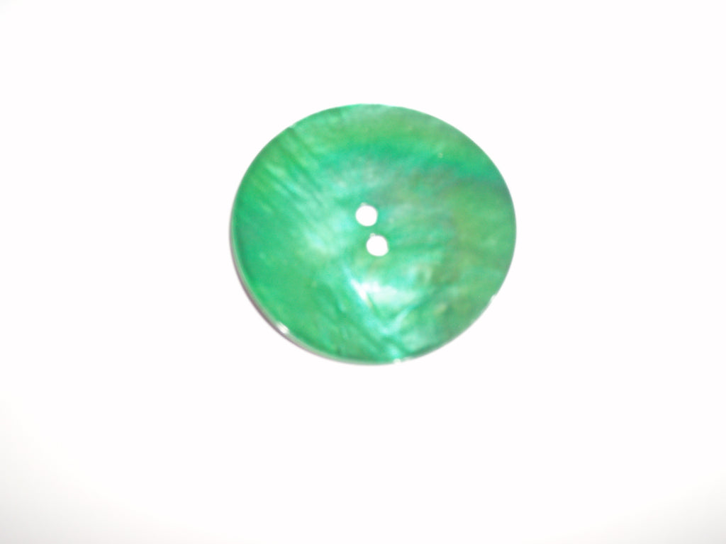 Pearlised coloured shell button - green - 50mm diameter - each