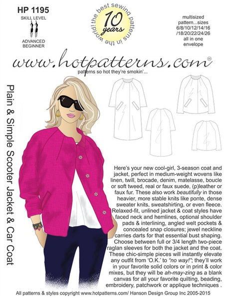 Hot Patterns 1195 Plain & Simple Scooter Jacket & Car Coat