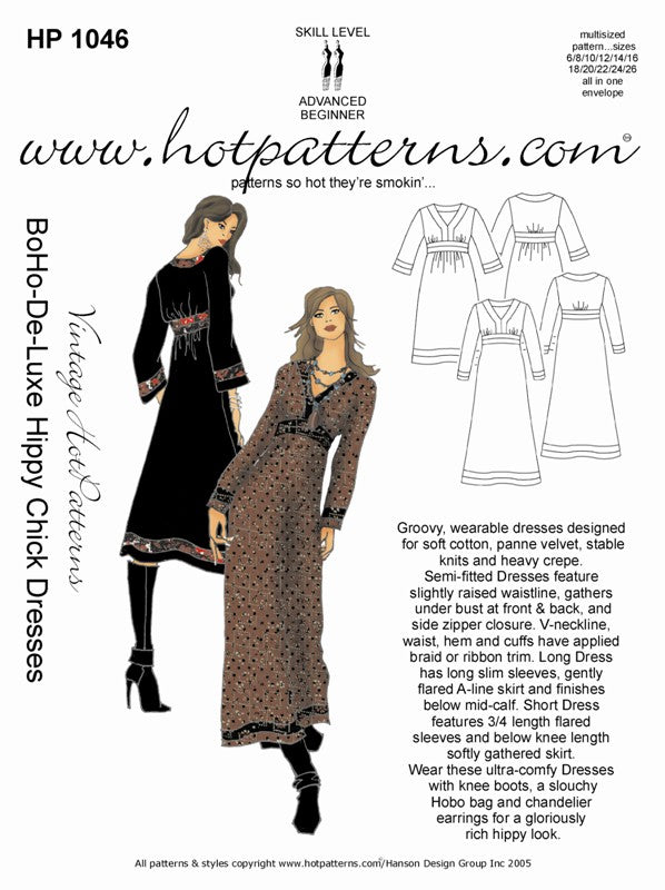 Hot Patterns 1046 - BoHo-De-Luxe hippy chick Dress