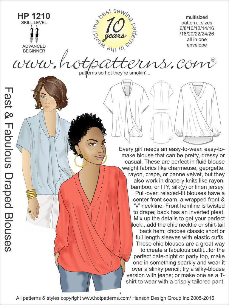 Hot Patterns 1210 - Fast & Fabulous Draped Blouses
