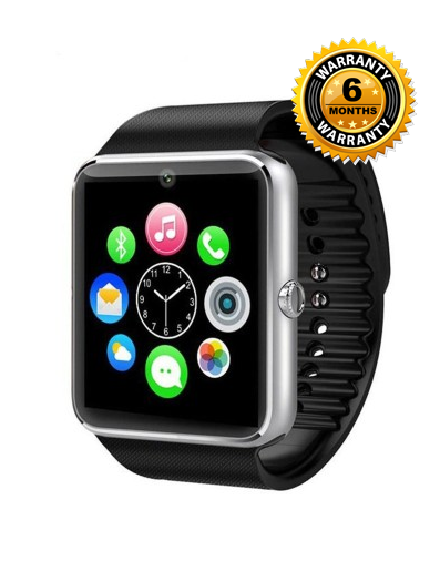 Fitmate GT08 Sim Card & NFC Supported Smartwatch - Silver- Black
