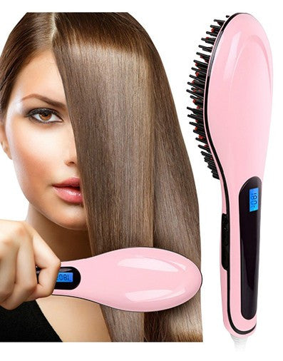 Hair Straightening Brush With LED Display