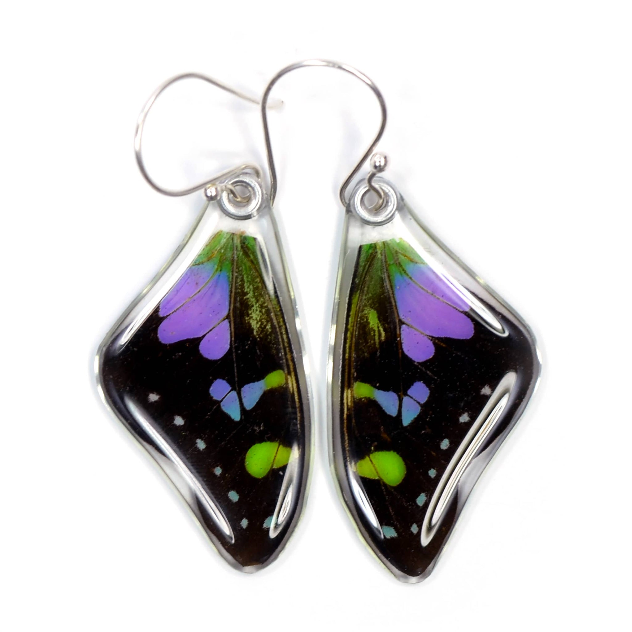 0050 Butterfly Earrings, Purple Spotted Swallowtail,top wing