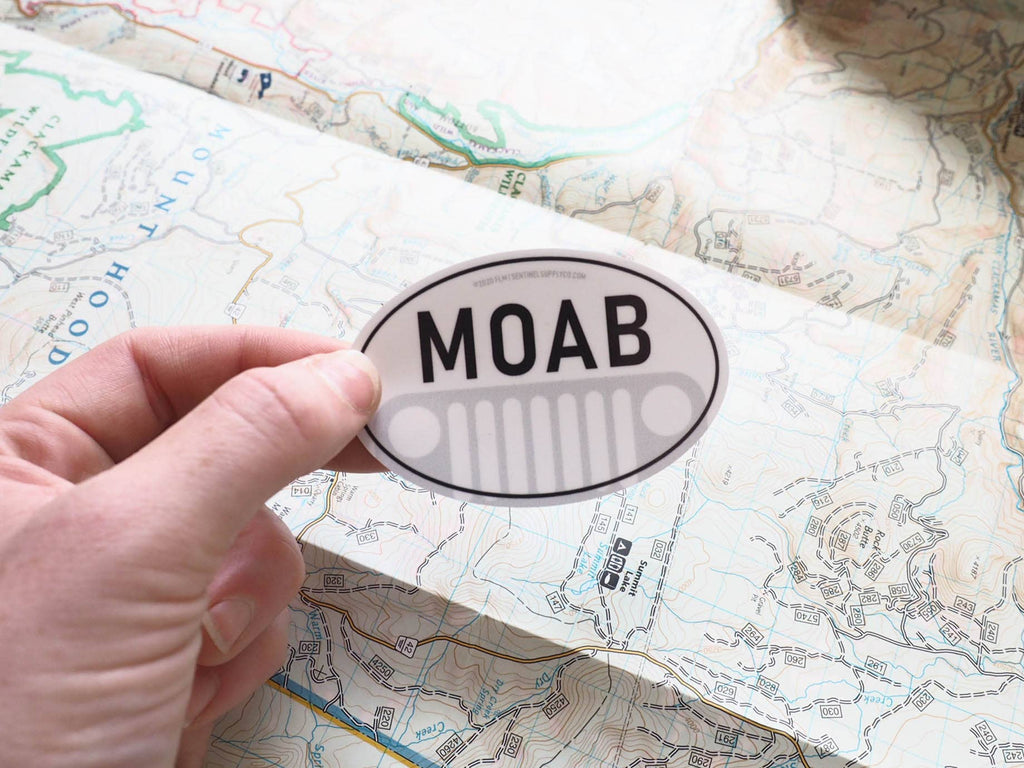 Moab Utah Jeep White Oval Sticker