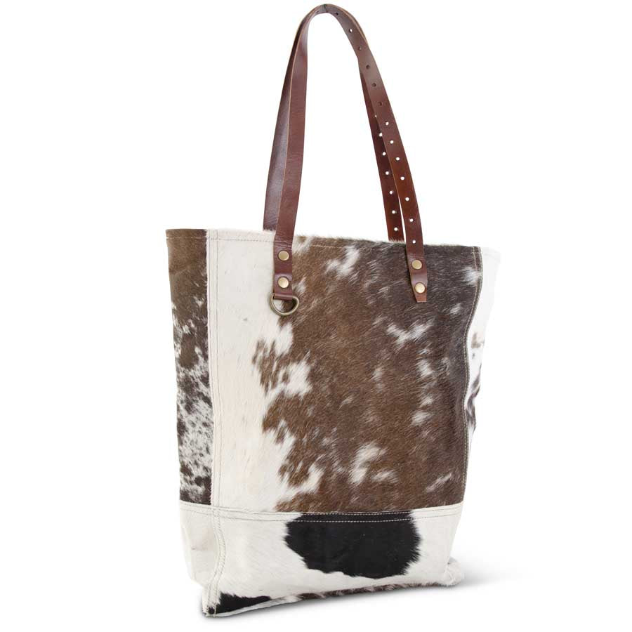 Brown and White Cow Hide Tote