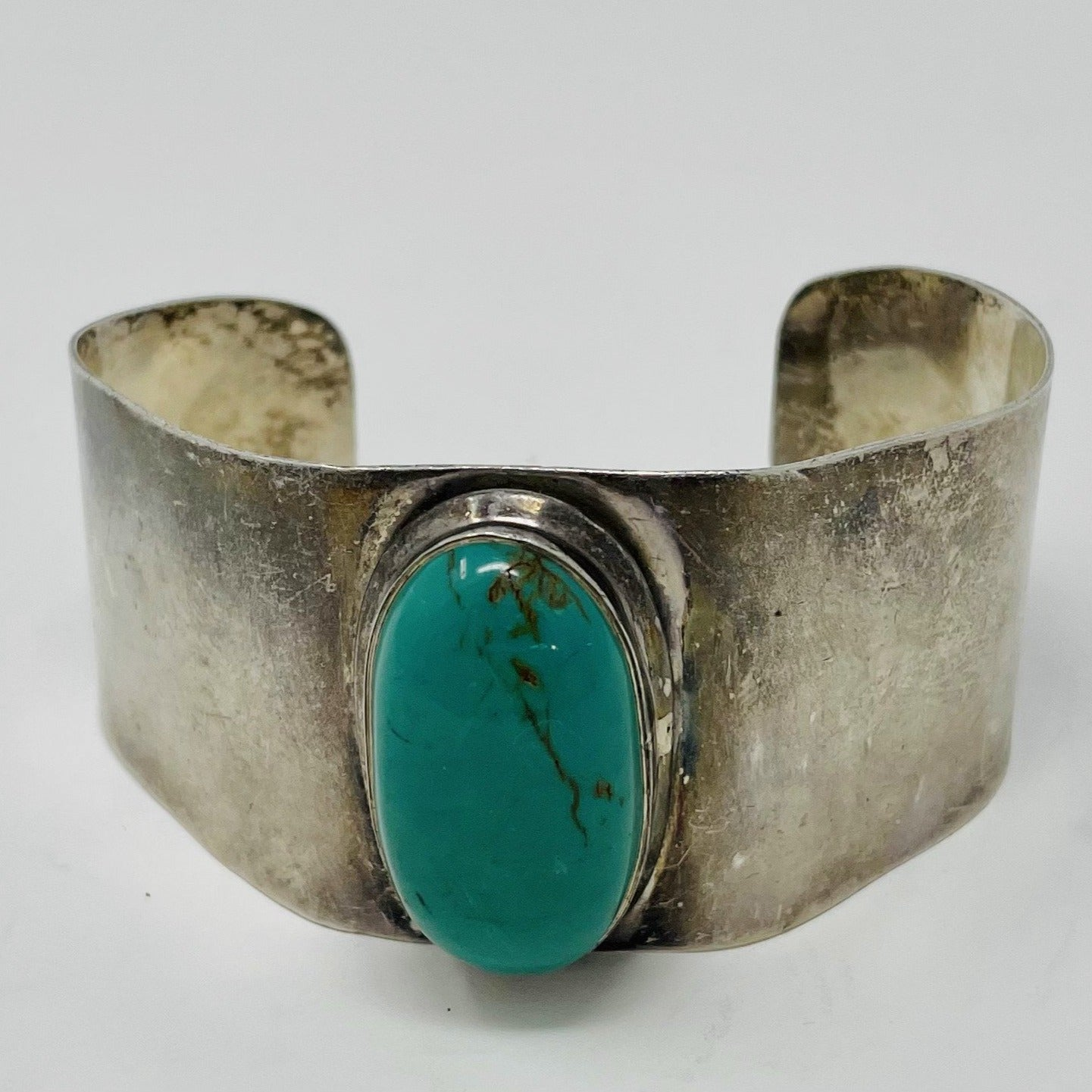 Silver Cuff with large turquoise stone