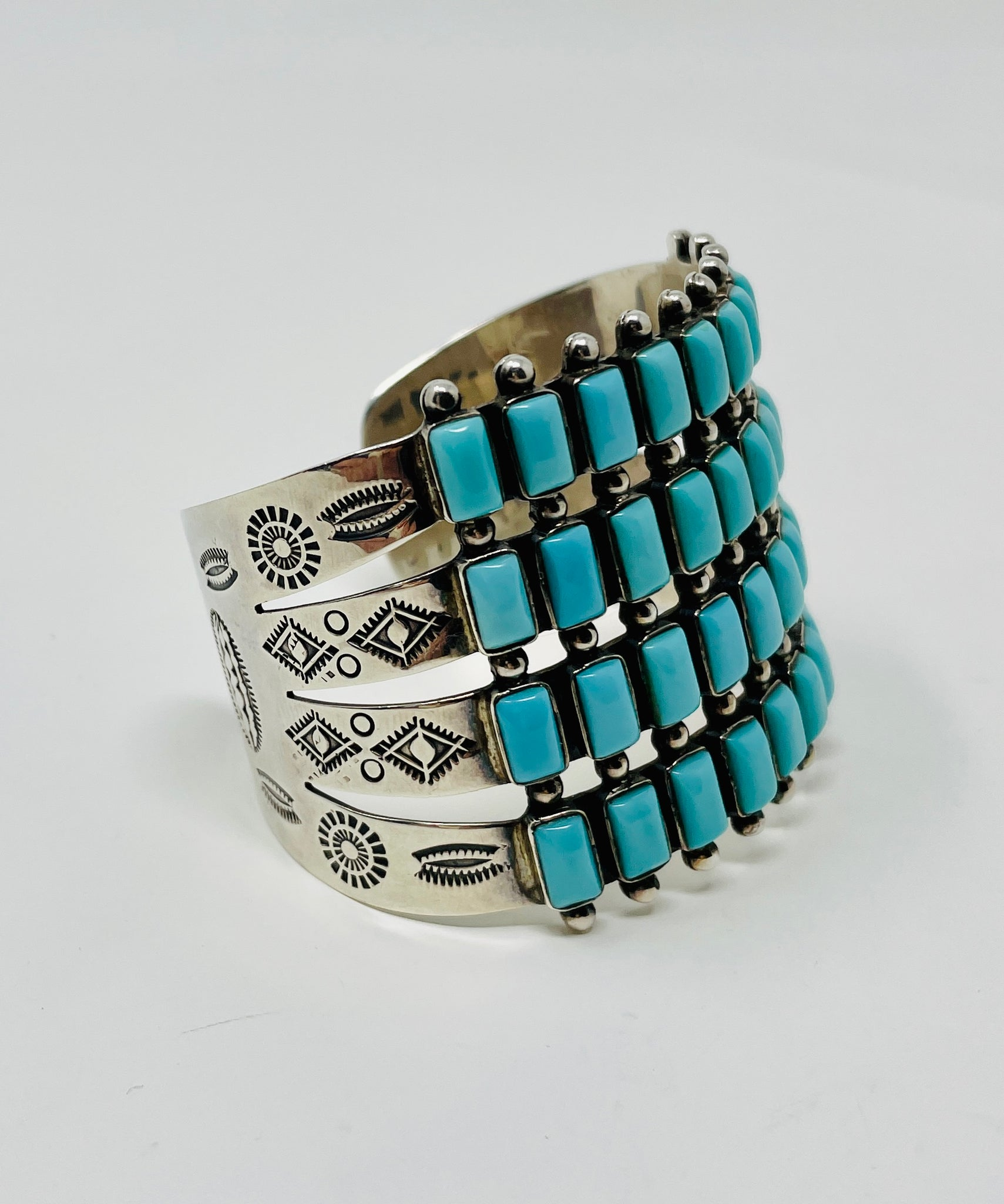 Sensational Zuni Silver Row Cuff with 40 Turquoise Stones and Stampwork