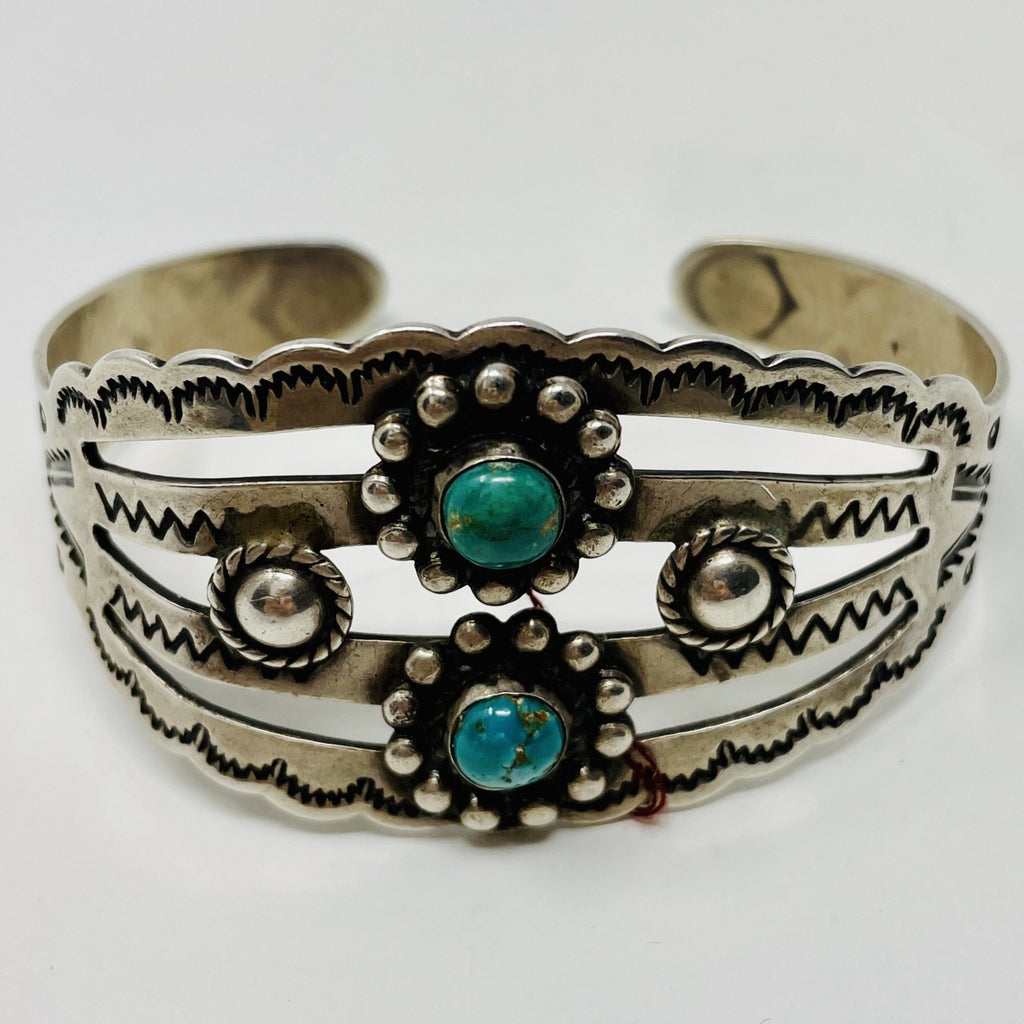 Fred Harvey Era Sterling Silver Cuff with 2 Turquoise Stones, Stampwork and Repousse""