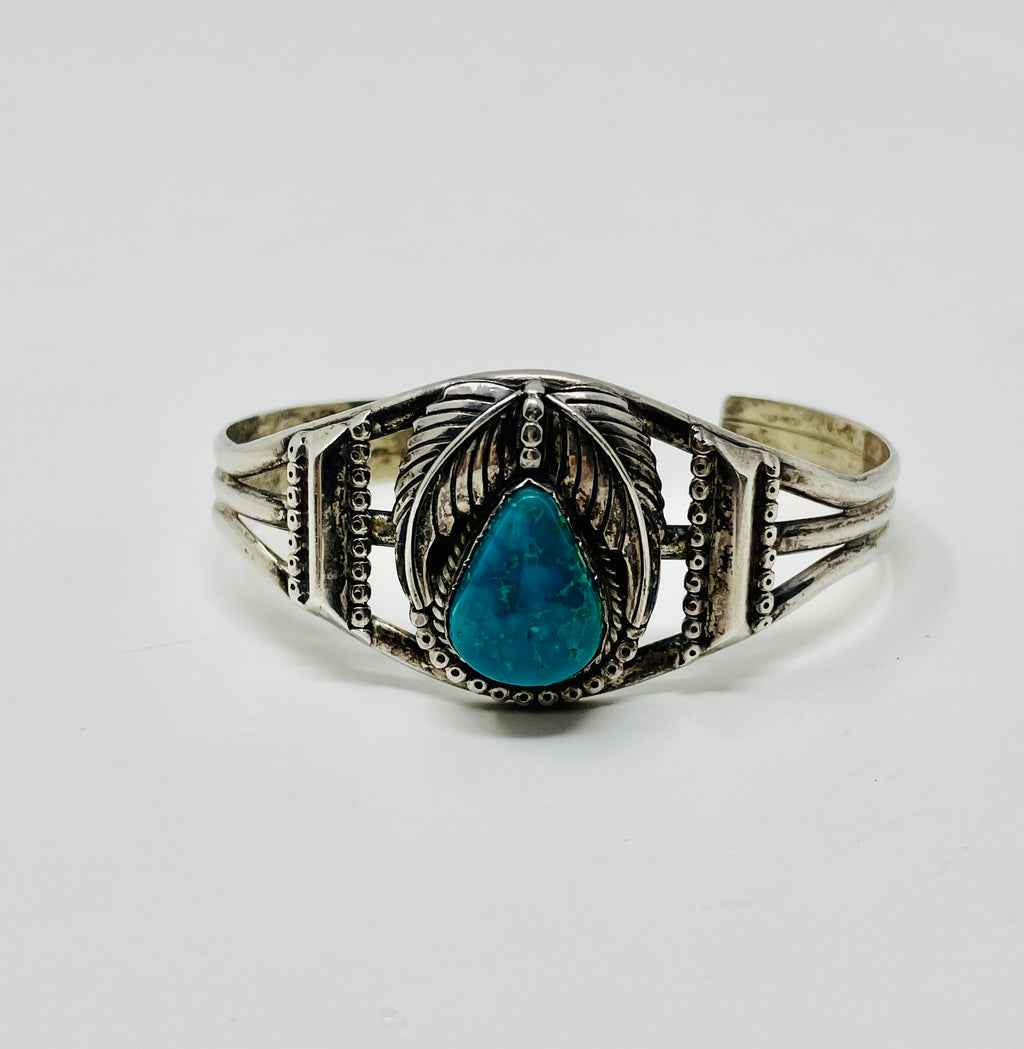 Silver Cuff w Vibrant Teardrop Turquoise Stone