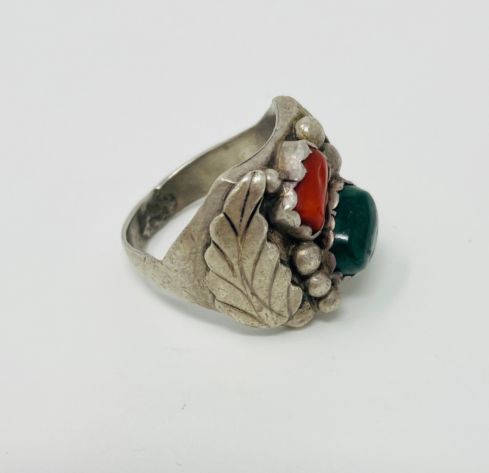 Navajo Ring with Turquoise, Coral and Raindrops