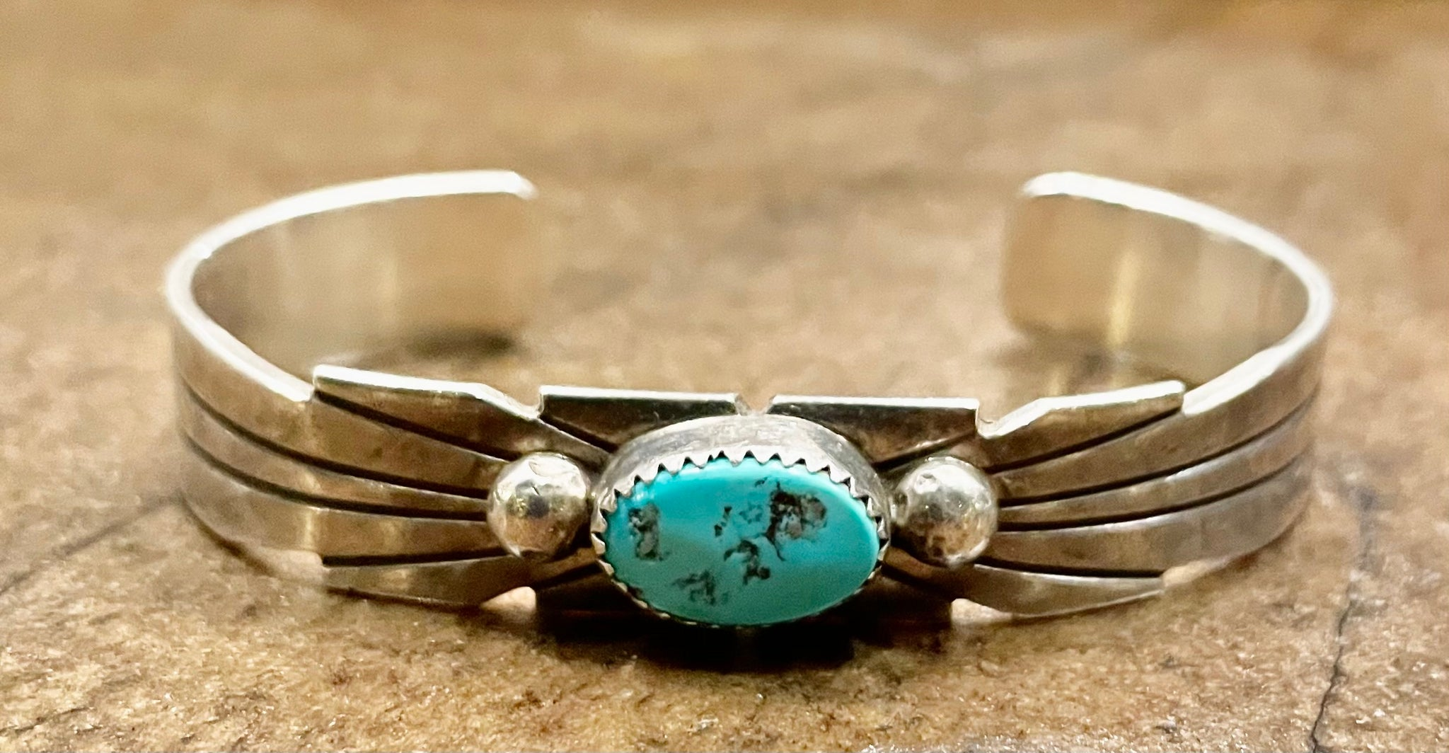 Silver Cuff with Oval Turquoise