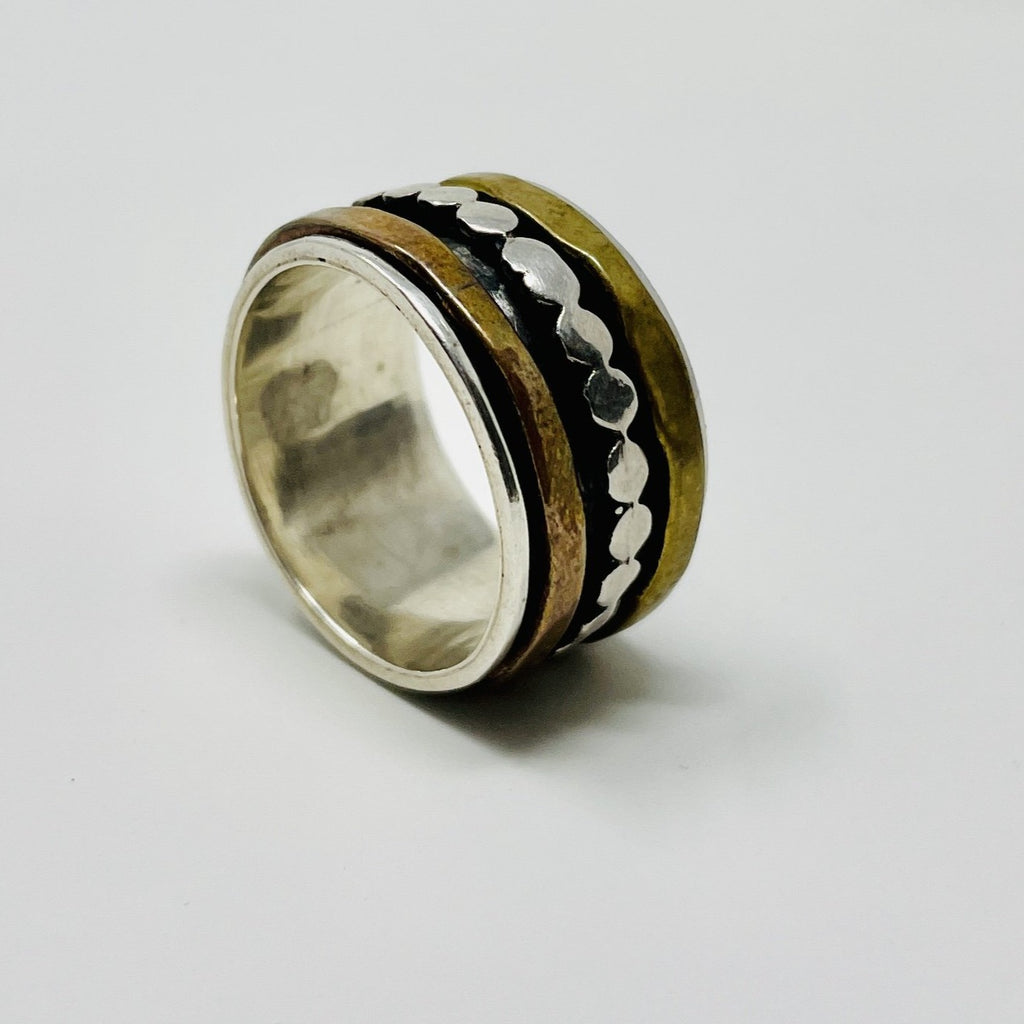 Sterling Silver Spinner Ring w Gold, Silver and Bronze Floating Bands