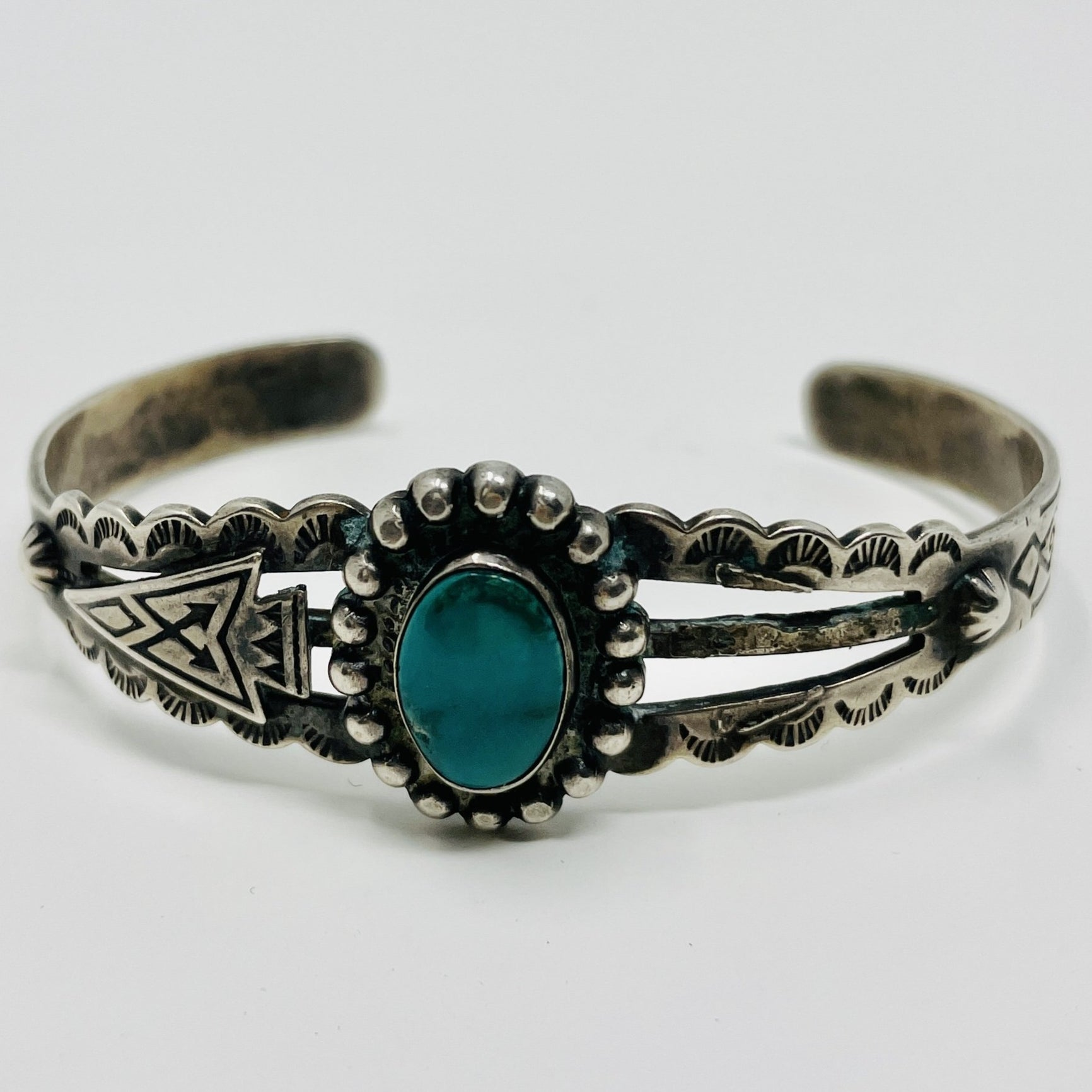 Fred Harvey Era Sterling Silver Cuff w Turquoise Stone, Repousse' and Stampwork