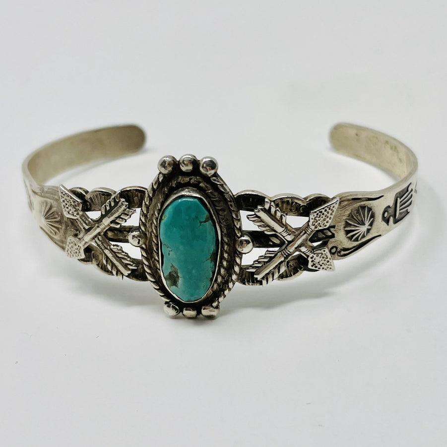 Fred Harvey Era Silver Cuff w Turquoise Stone